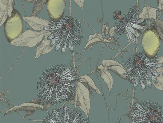 Обои Fardis - Skardu арт. 117078, где представлен изысканный растительный узор из вьющихся стеблей страстоцвета, украшенного необычными цветами и красочными плодами бежевых, лимонных и голубых оттенков, на фоне структурного металлика приглушенного серо - синего цвета. Салон обоев, магазин обоев, купить обои в Москве., SHANGRI LA, Обои для гостиной, Обои для кухни, Обои для спальни
