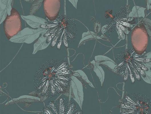 Обои Fardis - Skardu арт. 117079, где представлен изысканный растительный узор из вьющихся стеблей страстоцвета, украшенного необычными цветами и красочными плодами лососевого и бирюзовых оттенков, на фоне структурного металлика тёмно - зелёного цвета. Стильный интерьер, дизайнерские обои, стоимость. Обои для ремонта, Обои для комнаты, красивые обои., SHANGRI LA, Обои для гостиной, Обои для кабинета, Обои для кухни, Обои для спальни