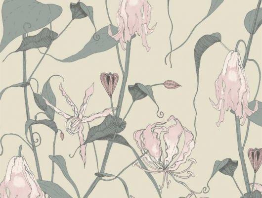 Флизелиновые обои Fardis с растительным орнаментом, где на фоне структурного металлика цвета шампанского, красиво разросшиеся стебли вьюнка плетут экзотический трельяж этого прекрасного цветочного дизайна с изюминкой. Стильный интерьер, дизайнерские обои, цена, SHANGRI LA, Обои для гостиной, Обои для кухни, Обои для спальни