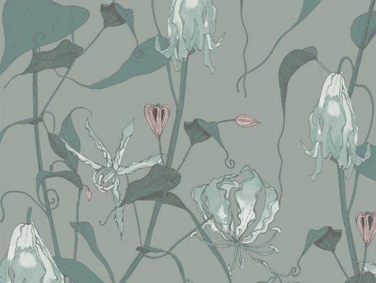 Флизелиновые обои арт. 117084 с растительным орнаментом, где на фоне структурного металлика, серо - зеленого цвета, красиво разросшиеся стебли вьюнка плетут экзотический трельяж этого прекрасного цветочного дизайна с изюминкой. Английские обои, Обои Fardis, Каталог обоев., SHANGRI LA, Обои для гостиной, Обои для кухни, Обои для спальни