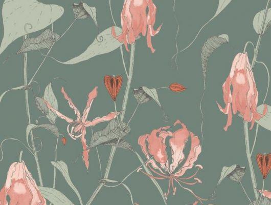 Фотография обоев Fardis в интерьере гостиной, где на фоне структурного металлика красиво разросшиеся стебли вьюнка плетут экзотический трельяж этого прекрасного цветочного дизайна с изюминкой. Арт. 117086, обои для квартиры, обои на стену, дизайнерские обои., SHANGRI LA, Обои для гостиной, Обои для кухни, Обои для спальни