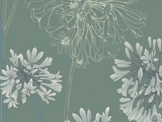 В обоях Fardis - Yunnan Ваше внимание сконцентрировано на крупных соцветиях африканской лилии - это всё, что нужно, чтобы сделать данный дизайн потрясающим дополнением к коллекции и украшением для любой стены, а сочетание  фона серо - зелёного цвета  и серых с синим акцентов составляют благородную комбинацию оттенков -  арт. 117089. Выбрать, заказать, оплатить., SHANGRI LA, Обои для гостиной, Обои для кухни, Обои для спальни