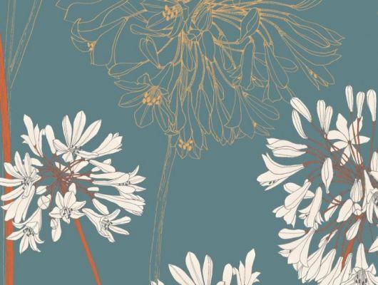 В обоях Fardis - Yunnan Ваше внимание сконцентрировано на крупных соцветиях африканской лилии - это всё, что нужно, чтобы сделать данный дизайн потрясающим дополнением к коллекции и украшением для любой стены, а сочетание  фона цвета морской волны  и ярких оранжевых с белым акцентов создают динамичный интерьер -  арт. 117090. Выбрать, заказать, оплатить., SHANGRI LA, Обои для гостиной, Обои для кухни, Обои для спальни
