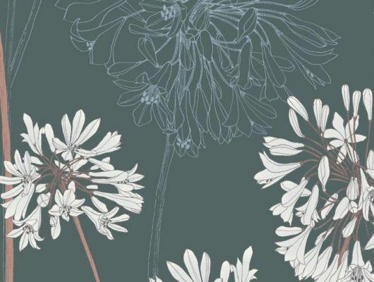 В обоях Fardis - Yunnan Ваше внимание сконцентрировано на крупных соцветиях африканской лилии - это всё, что нужно, чтобы сделать данный дизайн потрясающим дополнением к коллекции и украшением для любой стены, а сочетание  фона тёмно - зелёного оттенка и акцента кирпичного и белого цветов наполняет комнату роскошным уютом. Стильные обои, Стоимость, заказать доставку., SHANGRI LA, Обои для гостиной, Обои для кабинета, Обои для спальни