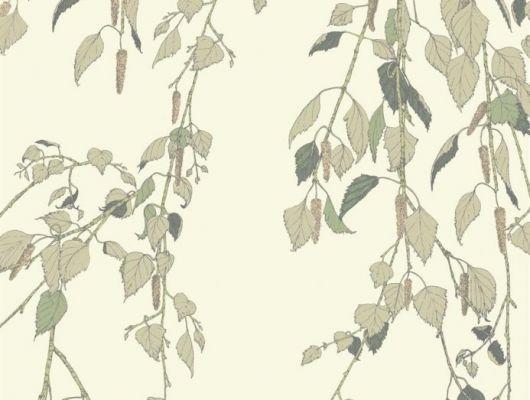 Обои Fardis - Kachura арт.117092 созданы, чтобы в точности воспроизвести  ощущение словно Вы сидите под сенью берёзы, чьи ласковые ветви грациозно покачиваются вокруг, где листья, на кремовом фоне структурного металлика, красиво бликуют на ветру. Английские обои, Обои Fardis, Каталог обоев., SHANGRI LA, Обои для гостиной, Обои для кухни, Обои для спальни