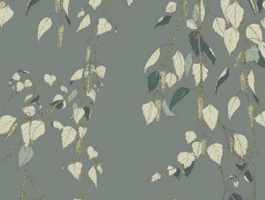 Обои Fardis - Kachura арт.117093 созданы, чтобы в точности воспроизвести  ощущение словно Вы сидите под сенью берёзы, чьи ласковые ветви грациозно покачиваются вокруг, где листья, на фоне серо-зелёного металлика, красиво бликуют на ветру. Стильный интерьер, дизайнерские обои, цена., SHANGRI LA, Обои для гостиной, Обои для кухни, Обои для спальни
