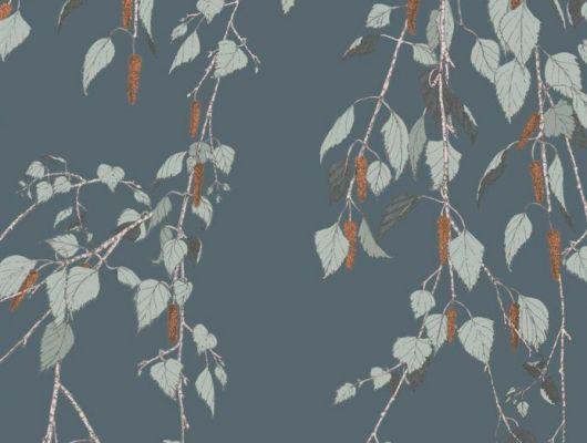 Обои Fardis - Kachura арт.117094 созданы, чтобы в точности воспроизвести  ощущение словно Вы сидите под сенью берёзы, чьи ласковые ветви грациозно покачиваются вокруг, где листья, на фоне сине-зелёного металлика, красиво бликуют на ветру. Выбрать, заказать, оплатить., SHANGRI LA, Обои для гостиной, Обои для кухни, Обои для спальни