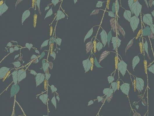 Обои Fardis - Kachura арт.117095 созданы, чтобы в точности воспроизвести  ощущение словно Вы сидите под сенью берёзы, чьи ласковые ветви грациозно покачиваются вокруг, где листья, на тёмном фоне металлика с лёгким оттенком зелени, красиво бликуют на ветру. Стильный интерьер, дизайнерские обои, цена., SHANGRI LA, Обои для гостиной, Обои для кухни, Обои для спальни