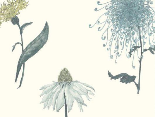 Мир цветов всегда тянет к себе своими невероятными узорами и ароматами, с помощью  дизайна обоев Fardis - Hunza, мы можем позволить себе рассматривать великолепные соцветия круглый год! Естественное и мягкое сочетание голубых и желтых оттенков на кремовом фоне структурного металлика в арт. 117101. Английские обои, Обои Fardis, Каталог обоев., SHANGRI LA, Обои для гостиной, Обои для кухни, Обои для спальни