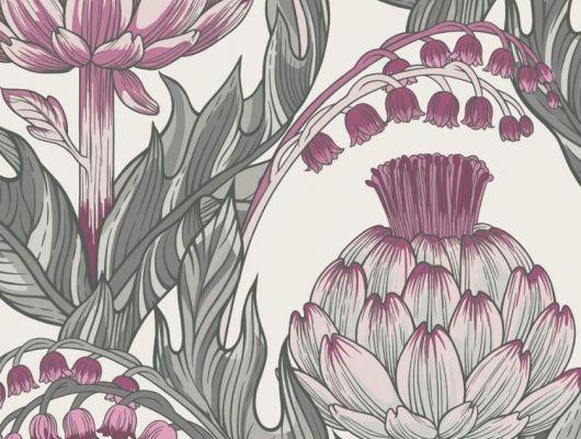 Обои Fardis - Mai арт. 11711. Детально прорисованные артишоки и колокольчики объединены современным стилевым оформлением, в котором насыщенные, экспрессивные цвета применяются наравне с классическими оттенками. Светлый фон подчёркивает нежное сочетание серых и розовых оттенков. Стильный интерьер, цветы на обоях, фото в интерьере., CANTARI, Обои для гостиной