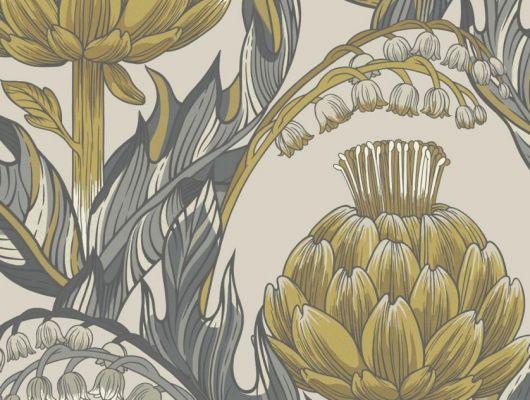 Обои Fardis - Mai арт. 11713. Детально прорисованные артишоки и колокольчики объединены современным стилевым оформлением, в котором насыщенные, экспрессивные цвета применяются наравне с классическими оттенками. На фоне цвета светлого кофейного оттенка выгодно смотрятся серые, коричневые и горчичные цвета. Стильный интерьер, стильные обои, стоимость., CANTARI, Обои для гостиной