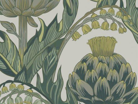 Обои Fardis - Mai арт. 11714. Детально прорисованные артишоки и колокольчики объединены современным стилевым оформлением, в котором насыщенные, экспрессивные цвета применяются наравне с классическими оттенками. На фоне серого цвета изыскано выделяются тёмно-зелёные и травянистые оттенки. Подобрать обои, растительный орнамент, цветы в интерьере., CANTARI, Обои для гостиной