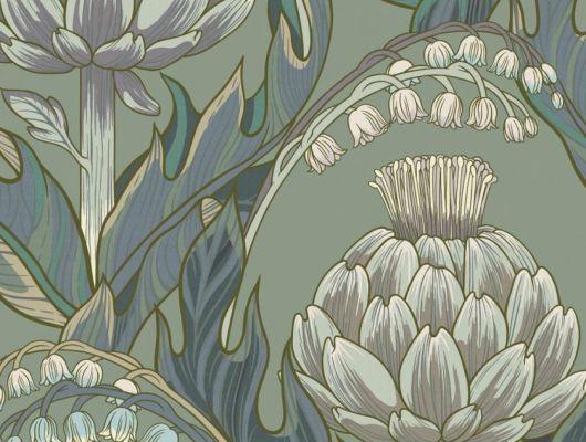 Обои Fardis - Mai арт. 11715. Детально прорисованные артишоки и колокольчики объединены современным стилевым оформлением, в котором насыщенные, экспрессивные цвета применяются наравне с классическими оттенками. Серо-зелёный фон мягко сочетается с фиолетовыми, сиреневыми, горчичными, кремовыми и голубыми цветами. Обои Fardis, Английские обои, выбрать в каталоге., CANTARI, Обои для гостиной