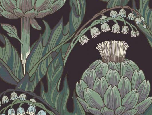 Обои Fardis - Mai арт. 11716. Детально прорисованные артишоки и колокольчики объединены современным стилевым оформлением, в котором насыщенные, экспрессивные цвета применяются наравне с классическими оттенками. На черно-фиолетовом фоне мятные и зеленые цвета тонко подчеркивают нюансы сиреневого, голубого и молочных оттенков. Подобрать обои, растительный орнамент, цветы в интерьере., CANTARI, Обои для гостиной
