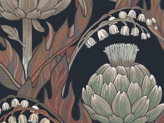 Обои Fardis - Mai арт. 11717. Детально прорисованные артишоки и колокольчики объединены современным стилевым оформлением, в котором насыщенные, экспрессивные цвета применяются наравне с классическими оттенками. На темном фоне пламенеют контрастные листья оттенков осени ( оранжевый, кирпичный, охристый и др.), обрамляя цветы в зеленой и серо-коричневой гаммы. Стильный интерьер, цветы на обоях, фото в интерьере., CANTARI, Обои для гостиной