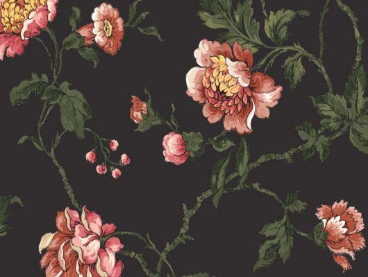 Обои Fardis арт. 11718, где розы шиповника на тёмном фоне с детально прорисованными лепестками красных и желтых цветов, красиво извиваясь, плетут великолепный обойный узор и в то же время дарят милое ощущение загородной жизни. Каталог обоев, обои для квартиры, обои на стену., CANTARI, Обои для гостиной, Обои для спальни