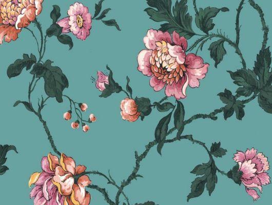 Обои Fardis арт. 11720, где розы шиповника на бирюзовом фоне с детально прорисованными лепестками розовых и желтых цветов, красиво извиваясь, плетут великолепный обойный узор и в то же время дарят милое ощущение загородной жизни. Дизайнерские обои, заказать обои, купить обои в Москве., CANTARI, Обои для гостиной, Обои для спальни