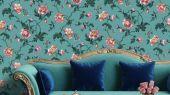 Обои Fardis арт. 11721, где розы шиповника на дымчатом голубом фоне с детально прорисованными лепестками сизых и желтых цветов, красиво извиваясь, плетут великолепный обойный узор и в то же время дарят милое ощущение загородной жизни. Выбрать обои в гостиную, обои в квартиру, флизелиновые обои.