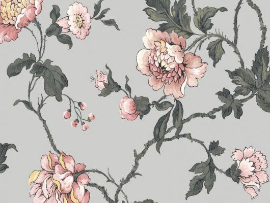 Обои Fardis арт. 11722, где розы шиповника на пастельном фоне лавандового цвета с детально прорисованными лепестками розовых тонов, красиво извиваясь, плетут великолепный обойный узор и в то же время дарят милое ощущение загородной жизни. Каталог обоев, обои для квартиры, обои на стену., CANTARI, Обои для гостиной, Обои для спальни