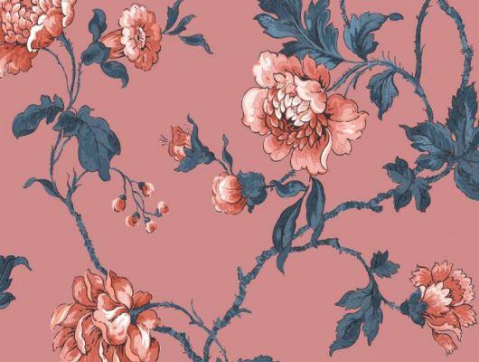 Обои Fardis арт. 11723, где розы шиповника на фоне кораллового цвета с детально прорисованными лепестками красных и розовых оттенков, красиво извиваясь, плетут великолепный обойный узор и в то же время дарят милое ощущение загородной жизни. Стильный интерьер, стильные обои, стоимость., CANTARI, Обои для гостиной, Обои для спальни