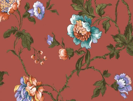 Обои Fardis арт. 11724, где розы шиповника на фоне классического красного цвета с детально прорисованными лепестками в необычном сочетании красных бирюзовых и фиолетовых тонов, красиво извиваясь, плетут великолепный обойный узор и в то же время дарят милое ощущение загородной жизни. Подобрать обои, растительный орнамент, цветы в интерьере., CANTARI, Обои для гостиной, Обои для спальни