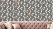 Обои Avril от Fardis в интерьере гостиной. Плавно изгибающиеся весенние тюльпаны послужили основой для мотива обоев Avril. Этот дизайн формирует изящный фон в самых разных интерьерах, где требуется доброжелательная цветовая палитра. Салон обоев, магазин обоев, обои Москва.