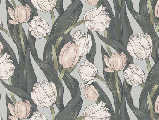 Обои Avril арт. 11728 от Fardis. Плавно изгибающиеся розовые и белые тюльпаны, на светло-сером фоне, в обрамлении листьев зеленых и серых оттенков - стремятся вверх и задают динамичный фон в интерьере. Посмотреть коллекцию, выбрать обои, заказать доставку., CANTARI, Обои для гостиной, Обои для спальни