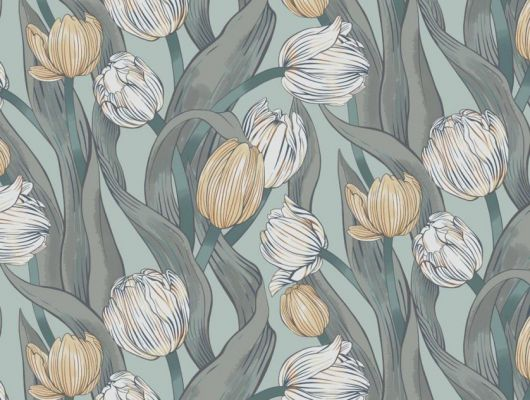 Обои Avril арт. 11729 от Fardis. Плавно изгибающиеся желтые и белые тюльпаны, на светло-голубом фоне, в обрамлении листьев зеленых и серых оттенков - стремятся вверх и задают динамичный фон в интерьере. Стильный интерьер, цветы на обоях, фото в интерьере., CANTARI, Обои для гостиной, Обои для спальни