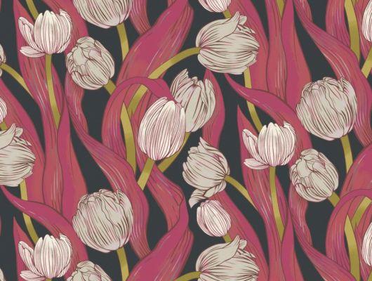 Обои Avril арт. 11732 от Fardis. Плавно изгибающиеся бежевые и белые тюльпаны, на темном фоне, в потрясающем обрамлении листьев рубиновых, красных и зеленых оттенков - стремятся вверх и задают динамичный фон в интерьере. Обои для ремонта, обои для комнаты, красивые обои., CANTARI, Новинки, Обои для гостиной, Обои для спальни