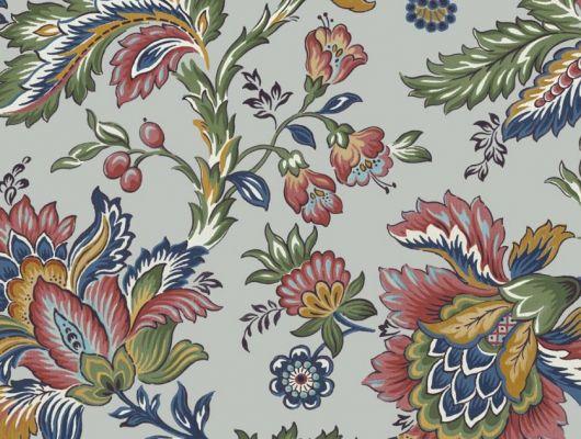 Обои Delphine арт. 11735 от Fardis. Один из архивных дизайнов, послужил вдохновением для их создания, который напоминает старинный гобелен. Растительный орнамент в синих, красных, зеленых и горчичных тонах выполнен на фоне серого цвета. Стильный интерьер, стильные обои, стоимость., CANTARI, Обои для гостиной