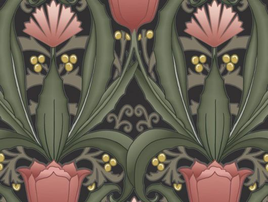 Обои в интерьере Fardis - Artisan арт. 11741. Дизайн напоминает средневековый стиль с угловатыми элементами, цветочный рисунок выполнен в красных и желтых оттенках с зеленой растительностью на темном фоне. Выбрать обои в гостиную, обои в квартиру, флизелиновые обои., CANTARI, Обои для гостиной