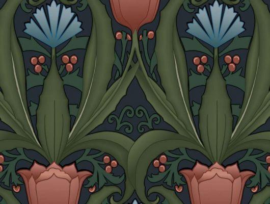 Обои в интерьере Fardis - Artisan арт. 11742. Дизайн напоминает средневековый стиль с угловатыми элементами, цветочный рисунок выполнен в красных и голубых оттенках с зеленой растительностью на темно-синем фоне. Обои Fardis, Английские обои, выбрать в каталоге., CANTARI, Обои для гостиной