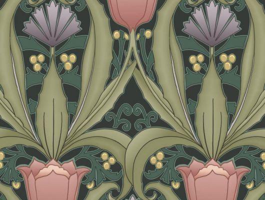 Обои в интерьере Fardis - Artisan арт. 11743. Дизайн напоминает средневековый стиль с угловатыми элементами, цветочный рисунок выполнен в красных и фиолетовых оттенках с зеленой растительностью на темном фоне. Посмотреть коллекцию, выбрать обои, заказать доставку., CANTARI, Обои для гостиной