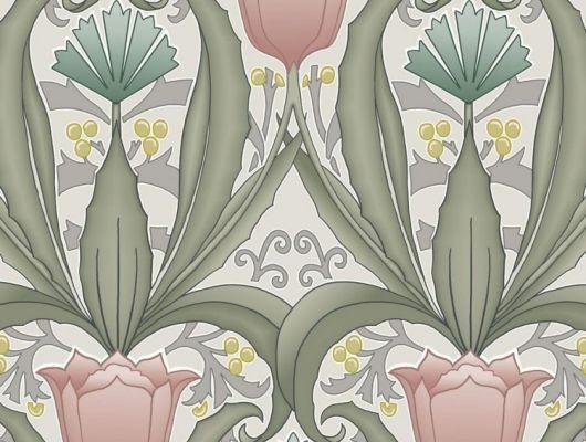 Обои в интерьере Fardis - Artisan арт. 11744. Дизайн напоминает средневековый стиль с угловатыми элементами, цветочный рисунок выполнен в розовых, цитрусовых и цвета морской волны оттенках с зеленой и серой растительностью на светло-сером фоне. Стильный интерьер, цветы на обоях, фото в интерьере., CANTARI, Обои для гостиной
