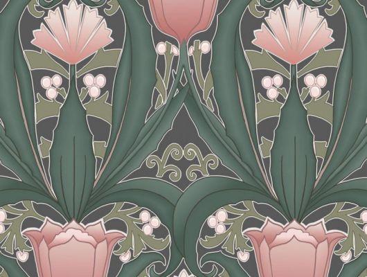 Обои в интерьере Fardis - Artisan арт. 11745. Дизайн напоминает средневековый стиль с угловатыми элементами, цветочный рисунок выполнен в розовых оттенках с зеленой растительностью на темном фоне. Салон обоев, магазин обоев, обои Москва., CANTARI, Обои для гостиной, Хиты продаж