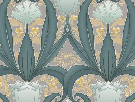 Обои в интерьере Fardis - Artisan арт. 11746. Дизайн напоминает средневековый стиль с угловатыми элементами, цветочный рисунок выполнен в небесно-голубых и горчичных оттенках с цвета морской растительностью на сером фоне. Каталог обоев, обои для квартиры, обои на стену., CANTARI, Обои для гостиной