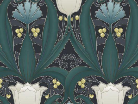 Обои в интерьере Fardis - Artisan арт. 11747. Дизайн напоминает средневековый стиль с угловатыми элементами, цветочный рисунок выполнен в серых и бирюзовых оттенках с изумрудной растительностью на темном фоне. Обои для ремонта, обои для комнаты, красивые обои., CANTARI, Обои для гостиной