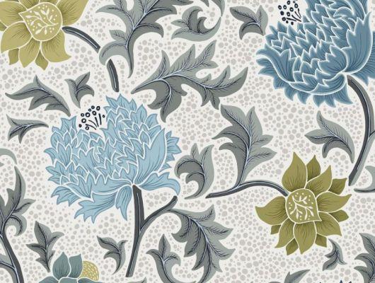 Обои Fardis - Eden арт. 11748 - это характер в Вашем интерьере, соответствующий стилистике движения искусств и ремёсел. Яркое сочетание цветочного орнамента в голубых, цитрусовых и серых цветах на светлом фоне. Дизайнерские обои, заказать обои, купить обои в Москве., CANTARI, Обои для гостиной, Обои для спальни