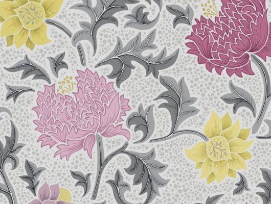 Обои Fardis - Eden арт. 11749 - это характер в Вашем интерьере, соответствующий стилистике движения искусств и ремёсел. Яркое сочетание цветочного орнамента в розовых, желтых и серых цветах на светлом фоне. Подобрать обои, растительный орнамент, цветы в интерьере., CANTARI, Обои для гостиной, Обои для спальни