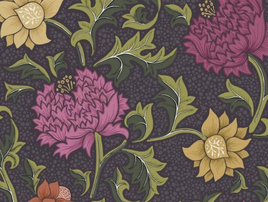 Обои Fardis - Eden арт. 11750 - это характер в Вашем интерьере, соответствующий стилистике движения искусств и ремёсел. Яркое сочетание цветочного орнамента в цветах охры, мадженты и зелени на темно-сером фоне. Выбрать обои в гостиную, обои в квартиру, флизелиновые обои., CANTARI, Новинки, Обои для гостиной, Обои для спальни