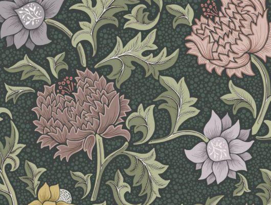 Обои Fardis - Eden арт. 11751 - это характер в Вашем интерьере, соответствующий стилистике движения искусств и ремёсел. Яркое сочетание цветочного орнамента в нежно-коралловых, желтых и сиреневых цветах на темно-зеленом фоне. Обои Fardis, Английские обои, выбрать в каталоге., CANTARI, Обои для гостиной, Обои для спальни