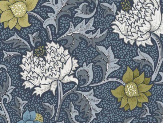 Обои Fardis - Eden арт. 11752 - это характер в Вашем интерьере, соответствующий стилистике движения искусств и ремёсел. Яркое сочетание цветочного орнамента в голубых, цитрусовых и серых тонах на синем фоне. Посмотреть коллекцию, выбрать обои, заказать доставку., CANTARI, Обои для гостиной, Обои для спальни