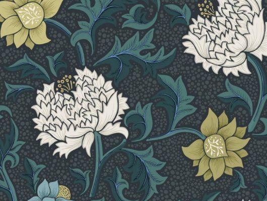 Обои Fardis - Eden арт. 11753 - это характер в Вашем интерьере, соответствующий стилистике движения искусств и ремёсел. Яркое сочетание цветочного орнамента в изумрудных, цитрусовых, бирюзовых и серых цветах на темно-сером фоне. Стильный интерьер, цветы на обоях, фото в интерьере., CANTARI, Обои для гостиной, Обои для спальни