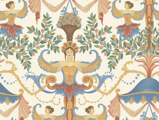 """Английские флизелиновые обои, арт. 118/12028 """"Chamber Angels"""", бренда Cole & Son , из коллекции Great Masters . Обои в гостиную, с ярким историческим рисунком, с изображением Ангелов на молочном фоне. Купить в Москве с бесплатной доставкой, широкий ассортимент., HRP - Great Masters, Английские обои, Обои для гостиной, Обои для кабинета, Обои для спальни"""