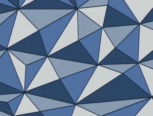 Обои с геометрическим 3D рисунком синего и серого цвета Fardis GEO CUBISM, купить обои в интернет-магазине, обои Одизайн, синие обои, GEO, Обои для гостиной, Обои для кухни