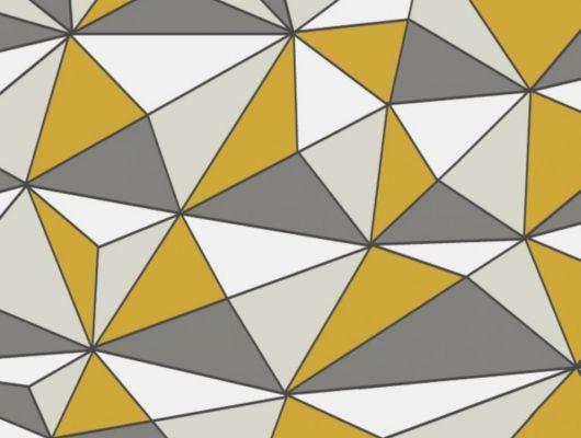 Геометрические обои CUBISM для гостиной с стильным рисунком в желтых и белых оттенках от Fardis из коллекции GEO в Москве в интернет-магазине, GEO, Новинки, Обои для гостиной, Обои для кухни