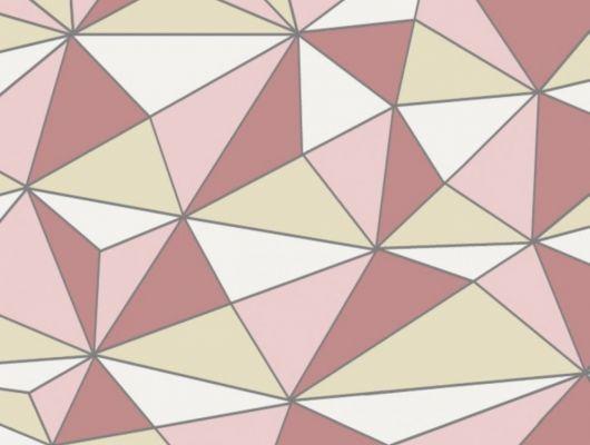Розовые обои CUBISM с геометрическим 3D рисунком, купить в Москве, в шоу-руме, обои Fardis, обои из коллекции GEO найти дилера, GEO, Обои для гостиной, Обои для спальни