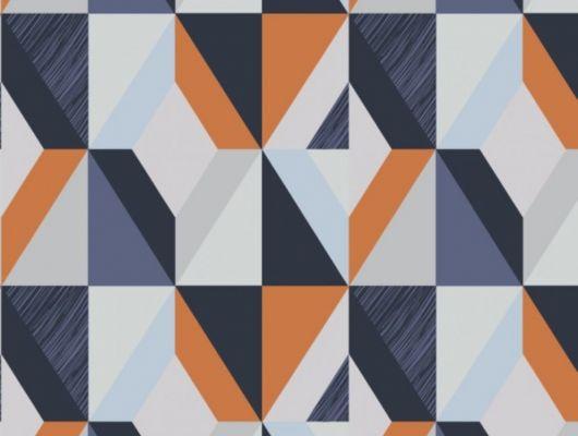 Обои виниловые на флизелиновой основе Fardis GEO HARLEQUIN для спальни, для гостиной, с крупным геометрическим рисунком, в синих и оранжевых цветах, с белыми и серыми элементами купить в Москве, доставка обоев на дом, оплата обоев онлайн, большой ассортимент, GEO, Обои для гостиной, Обои для спальни