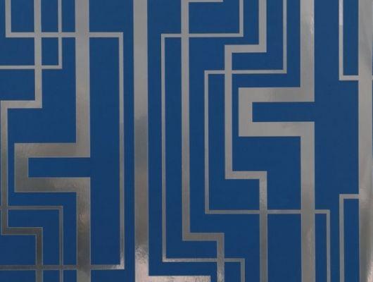 Обои виниловые на флизелиновой основе Fardis GEO TRACKS, для гостиной, с геометрическим рисунком серебряного цвета, на синем фоне, купить в Москве, доставка обоев на дом, оплата обоев онлайн, большой ассортимент, интернет-магазин обоев, GEO, Обои для гостиной, Обои для кабинета, Обои для кухни