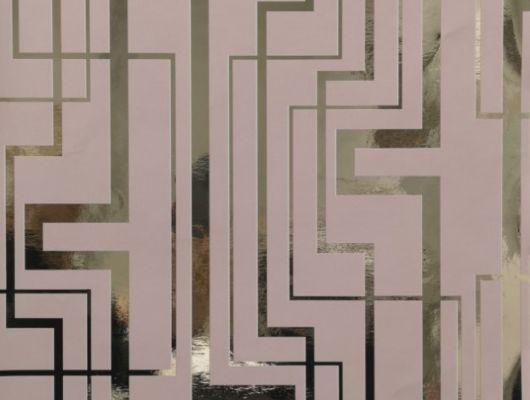 Обои виниловые на флизелиновой основе Fardis GEO TRACKS, для гостиной, с геометрическим рисунком золотого цвета, на розовом фоне, купить в Москве, доставка обоев на дом, оплата обоев онлайн, большой ассортимент, интернет-магазин обоев, GEO, Обои для гостиной, Обои для кабинета, Обои для кухни
